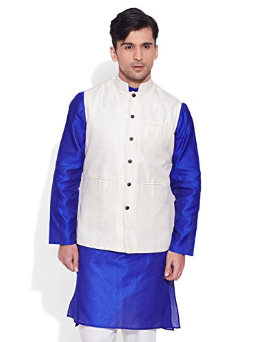 Very Me Men's Designer Ivory Faux Silk Textured Nehru Jacket Size:- 40 / L  available at amazon for Rs.999