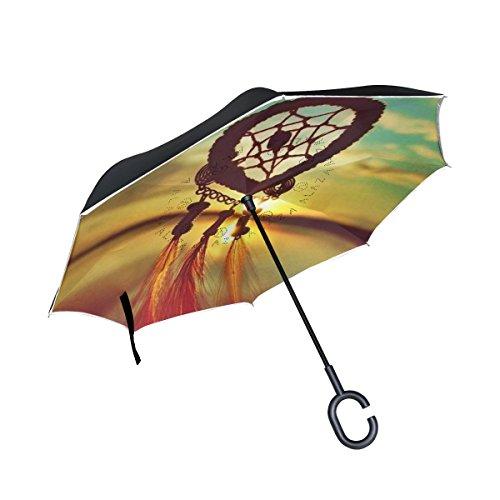 jstel doble capa invertida Atrapasueños Puesta de sol Paraguas coches Reverse resistente al viento lluvia paraguas para coche al aire libre con asa en forma de C
