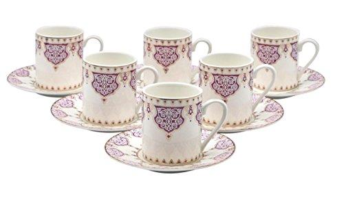 Bone China Porzellan Espresso Turkish Coffee Demitasse Set von 6Arabesque Muster Tassen + Untertassen fein Demi-tasse, 3 oz, 80 ml violett Demi Demitasse