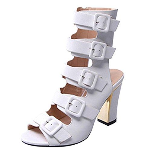 Oasap Damen Offen Blockabsätzen Gladiator Sandalen White