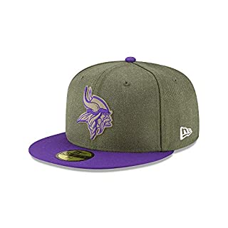 New Era Minnesota Vikings 59fifty Basecap On Field 2018 Salute to Service Green - 7 5/8-61cm