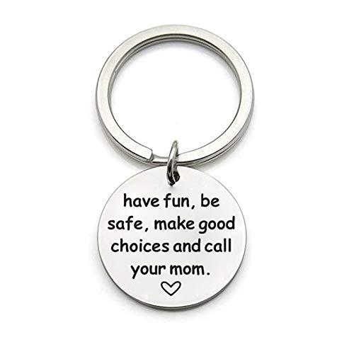 Anyeda Schlüsselanhänger Herren Edelstahl Have Fun,Be Safe.and Call Your Mom Hundemarke Schlüsselanhänger mit Gravur für Paare Silber Style A 4X2.4Cm