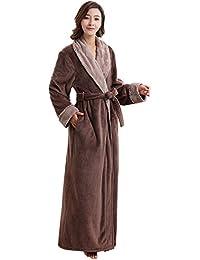ZAKASA para Mujer para Mujer de Lujo cálido Suave Polar vellón Bata Bata de baño Bata