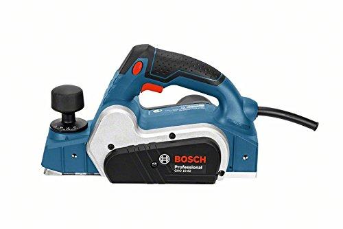 Bosch Professional 06015A4000 Professional Handhobel GHO 16-82, Parallelanschlag, Sechskantstiftschlüssel SW 2,5, Stoffstaubbeutel, 630 W, 230 V, Schwarz, Blau, Silber