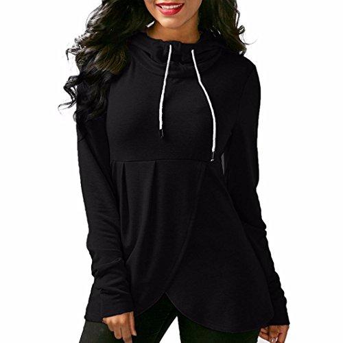 Femmes Manteau HUHU833 à manches longues à capuche asymétrique à capuche pour Noir