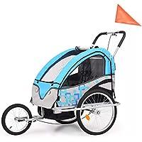 AEVOBAS VidaXL Remolque para Niños Dos PLAZAS con Amortiguadores Carro para Bicicleta con Barra (No. 91377)
