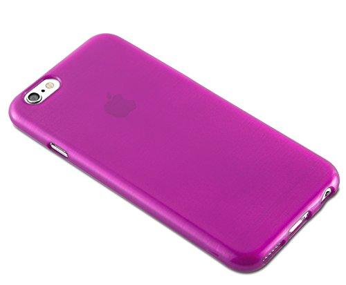 Cadorabo - Etui Housse Gel (silicone) pour Apple iPhone 6 / 6S Design: METAL BROSSÉ (brushed cover) - Etui Coque Case Cover Bumper en NOIR DE JAIS ROSE-VIF