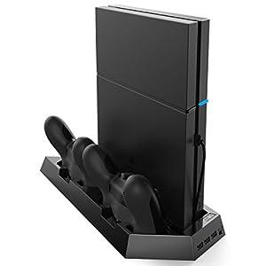 Criacr PS4/PS4 Slim Vertikaler Ständer mit 2 Kühlgebläse, PlayStation Ladestation Ständer, Dual Controller Ladestation für DualShock 4 wireless controller, 3-Port USB-Hub, für all deine PS4/PS4 Slim