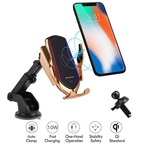 Hinyx Caricatore Wireless Auto, Qi Caricabatterie Ricarica Rapida Adatto Supporto 7.5W per iPhone XR/XS/XS/Max/X/8/8 Plus, 10W per Galaxy Note 9/S9/S8/Note 8, 5W per Huawei Mate 20 Pro