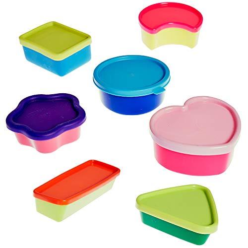 (MACOSA PT501 7-tlg. Set Bunte Mini Aufbewahrungsdosen mit Deckel, BPA frei, Obstdosen, Mehrzweckdose, Vorratsbehälter, Snackbox, Lunchbox, Dose)
