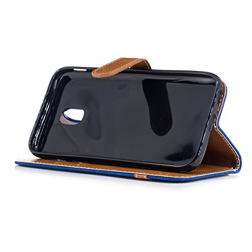 Hülle für Samsung Galaxy J3 2017, Tasche für Samsung Galaxy J3 2017, Case Cover für Samsung Galaxy J3 2017, ISAKEN Farbig Blank Muster Canvas Leinen Folio PU Leder Flip Cover Brieftasche Geldbörse Wal Leinen Blau