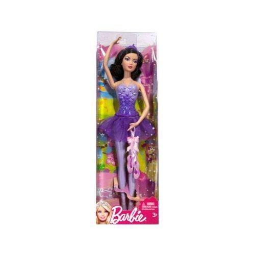 Mattel W2923 - Barbie Ballerina Prinzessin, lila mit schwarzen Haaren, (Lila Haare Schwarze)