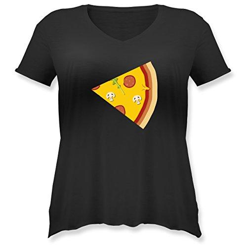Shirtracer Partner-Look Pärchen Damen - Pizza Pärchenmotiv Teil 2 - Weit Geschnittenes Damen Shirt in Großen Größen mit V-Ausschnitt Schwarz
