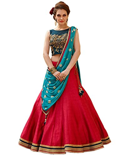 Globalia Creation Women's Lehengas for Wedding - Semi-stitched - 3 Piece, Tiger...