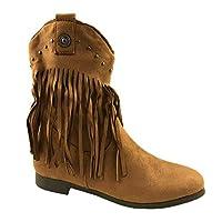 Ladies Faux Suede Cowboy Ankle Fringe Boots Side Zip Flat Heel Stud Detail Size UK 3-8