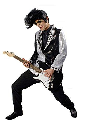 Kostüm Jacke Disco Kind - Karneval-Klamotten Pailletten Jacke Herren Disco-Jacke Pailletten Silber schwarz Party Glamour Herren-Jacke Herrenkostüm Größe 58/60