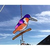 Hunky Dory Gifts Vidrieras De Colores Kingfisher Hanging Sun Catcher Windchime Garden Bird