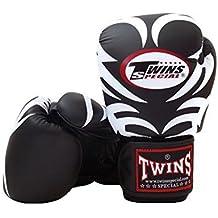 Twins Special Muay Thai Fancy Negro y rosa de piel de guantes de boxeo, 12onzas)