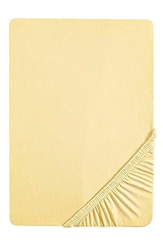 Biberna 2744/536/087 Drap housse en flanelle de coton pour un lit Jaune Clair 180 x 200 cm à 200 x 200 cm