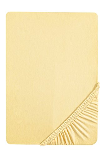 Sábana bajera ajustable elástica, jersey 97% algodón y 3% elastano, ultrasuave e extensible, para una cama de 120 x 200 cm, hasta 130 x 220 cm, ideal para las camas de agua, color amarillo claro