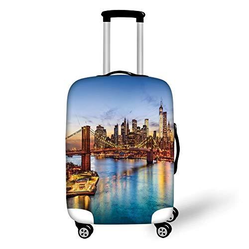 Travel Luggage Cover Suitcase Protector,United States,New York City Skyline Over East River Brooklyn Bridge Twilight Decorative,Blue Dark Orange Yellow,for TravelXL 29.9x39.7Inch (Twilight Bug)