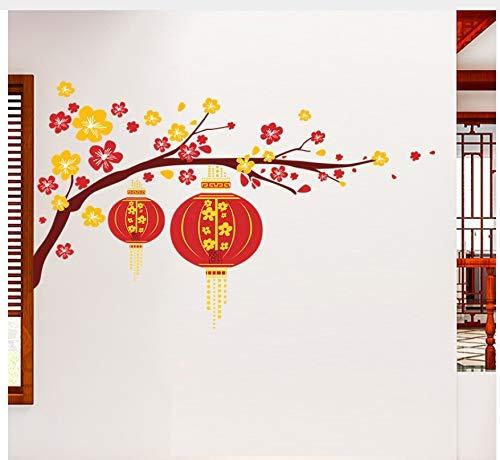 (BMY Chinesische Blume Laterne Pflaume Zweig Frohes Neues Jahr Wandaufkleber Aufkleber Kunst Wohnzimmer Wandaufkleber Wohnkultur Aufkleber Dekoration)
