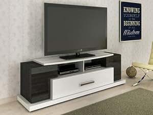 Meuble TV TONCA - MDF laqué - 1 tiroir - Blanc & noir