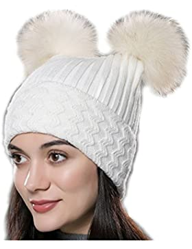 URSFUR Unisex gorra o pasamontaña de algodón de forma cuadrada con pompónes de mapache genuino otoño y invierno