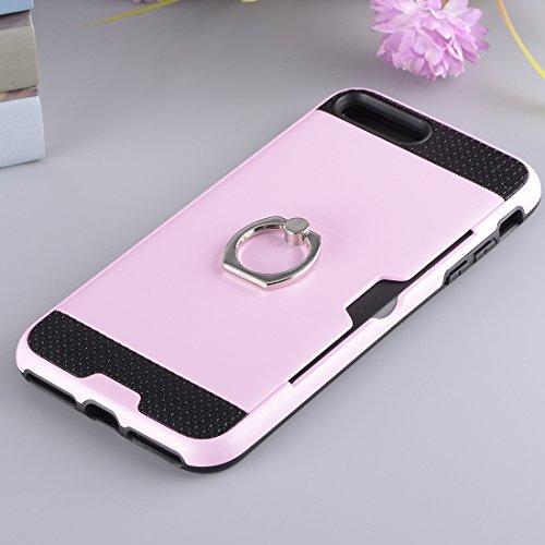 Wkae Texture Metall Schutzmaßnahmen zurück Fall mit Ring Halter Stand & Card Slot für iPhone 7 Plus ( Color : Pink ) Pink