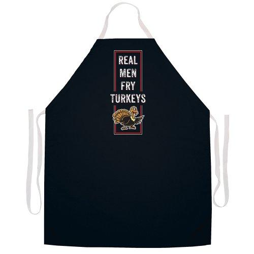 """Attitude Aprons Fully Adjustable """"Real Men Fry Turkeys"""" Apron Black"""