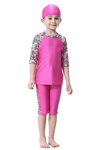 GladThink Muslim Mädchen islamisch Bescheiden Halbe Ärmel Bademode Strandkleidung Rose #160