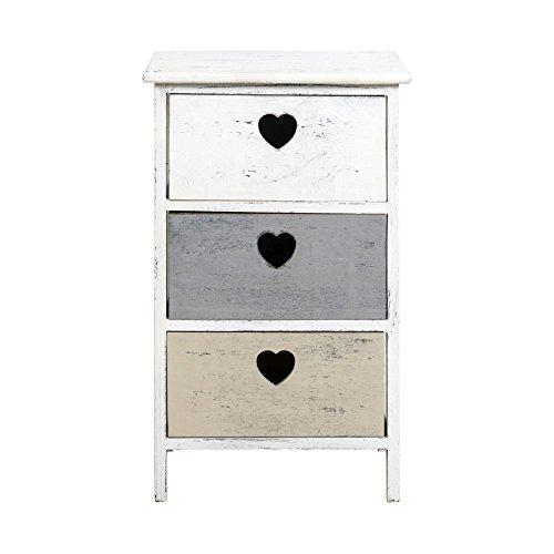 Rebecca srl comodino cassettiera 3 cassetti dolce casa legno paulownia bianco grigio marrone shabby vintage camera bagno (cod. re4391)