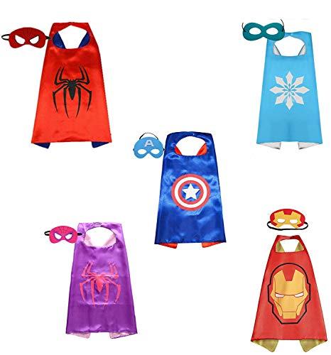 Maske Kostüm & Batman Kind Cape - Brigamo 5 x Superhelden Kinderkostüm Kinder Kostüme, ideal für Kindergeburtstag, Fasching oder Karneval