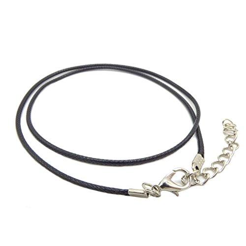 NaturSchatulle Lederband 2mm Schwarz I 1 Stück I 45cm Lederkette mit Verschluss Ohne Anhänger DIY Schmuck Halskette Leder Basteln Schmuckherstellung