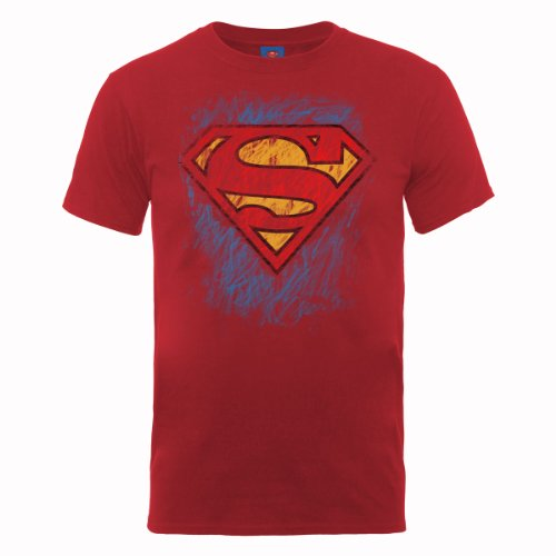 Superman-red T-shirt (DC Comics Herren DC0001586 Official Superman Crayon Logo T-Shirt, Rosso (Cherry Red), Medium)