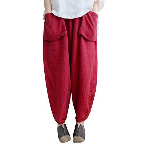 VRTUR Damen Oversize Haremshose Pumphose Ballonhose Vintage Yogahose Aladinhose Harem Sommerhose Pluderhose