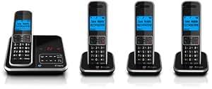 BT Inspire 1500 Quad Digital Cordless Phone with Answer Machine - Black