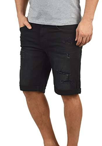 Blend Deniz Herren Jeans Shorts Kurze Denim Hose Mit Destroyed-Optik Aus Stretch-Material Regular Fit, Größe:S, Farbe:Denim Black (76204)