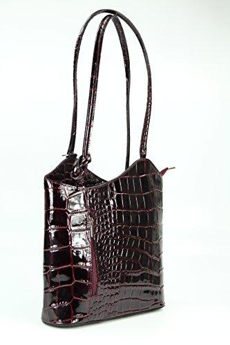 "BELLI ital. Ledertasche ""Belli Backpack"" 2in1 Rucksack Handtasche Schultertasche - Freie Farbwahl - 28x28x8 cm (B x H x T) Bordeaux Lack"