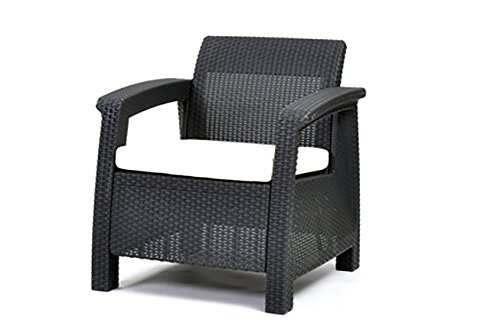 Keter Corfu Outdoor Rattan Garden Furniture Armchair - Graphite with Cream Cushions
