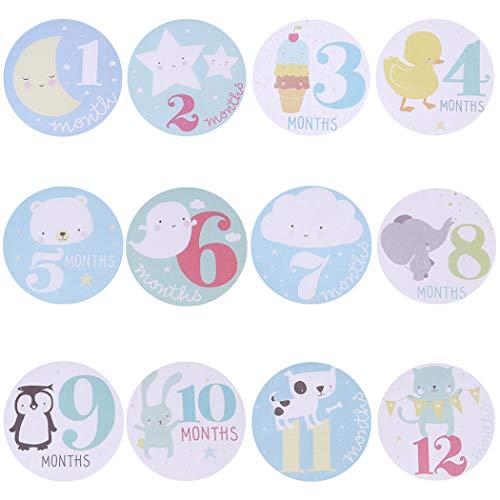 Justdolife 12PCS Onesie Aufkleber Selbstklebender Meilenstein Aufkleber für Baby (Monat Aufkleber Onesies)