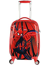 Handcuffs Kids Spiderman Polycarbonate Hard Sided Cabin Luggage (Red, 22-inches, BFSPIDERLUG-04)
