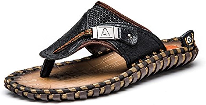 LQV Herren Sandalen Für Den Sommer Neu Flip Clip Toe Leder Sandalen Rutschfeste Casual Sandalen