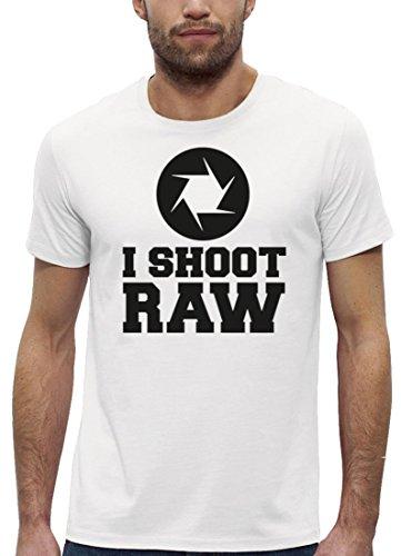 Fotografen Premium Herren T-Shirt aus Bio Baumwolle mit I SHOOT RAW Marke Stanley Stella White