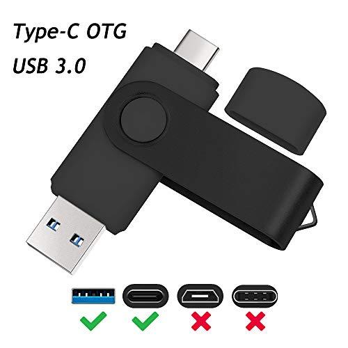 Uflatek 16GB USB Stick Type-C USB 3.0 Speicherstick OTG USB-Flash-Laufwerk Schlüsselanhänger 2 in 1 Dual USB Flash Drive Schwarz U Disk für Typ C Handy Telefon und PC - Swivel 4 Gb Usb