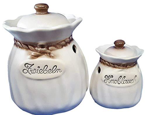 Zwiebeltopf Zwiebelsack Knoblauchtopf Knoblauchsack Keramik Zimmermann Deutsches Premiumprodukt