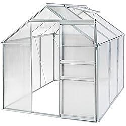 TecTake 800285 Serre de Jardin en Aluminium et Polycarbonate - diverses Modèles (190x190x195cm | No. 401826)