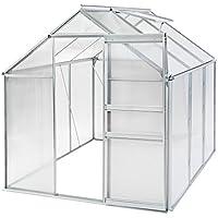 TecTake Invernadero de Jardín policarbonato Aluminio con Ventana casero Plantas Cultivos - Varios Modelos - (