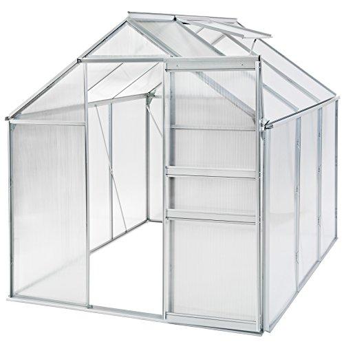 Tectake serra da giardino in alluminio e policarbonato con finestra per piante orto casetta esterno - modelli differenti - (190x190x195cm | no. 401826)