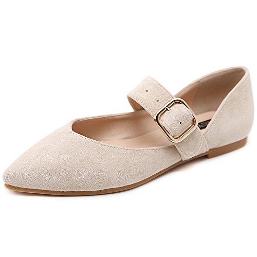LJO Womens Sommer Wies Mode Flache Ferse Baotou Sandalen Quadratische Schnalle Flachen Mund Schuhe,C,UK/EU36